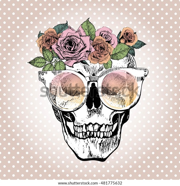 Vector Portrait Human Skull Wearing Floral Stock Vector Royalty Free 481775632 You can download cartoon crown posters and flyers templates,cartoon crown backgrounds,banners,illustrations and graphics image in psd and vectors for free. https www shutterstock com image vector vector portrait human skull wearing floral 481775632
