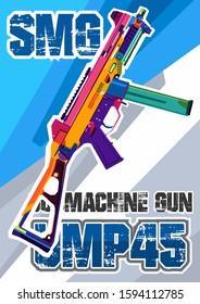 vector portrait illustration submachine gun ump45 smg design wpap pop art. a4. poster wallpaper template background
