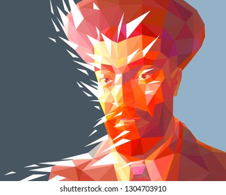 Vector portrait of a jew man in the low polygon style. The model has a red beard and wide eyebrows. He wears a high hat and a suit. There is a solid background. The broken glass effect is used.