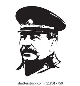 Vector portrait of Joseph Stalin in black and white