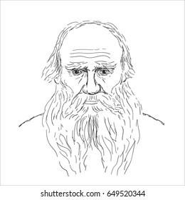 vector of portrait Leo Tolstoy.Sketch