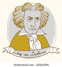 Vector Portrait Of Ludwig van Beethoven.