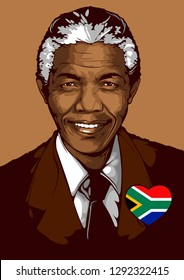 Vector Portrait of Nelson Mandela, born on 18 July 1918, The first president to be elected according to the democratic process correctly, Served as the Federal Prime Minister during 1994-1999.