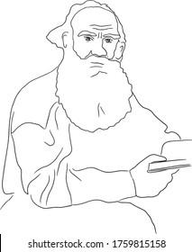 Vector portrait of russian writer Leo Tolstoy
