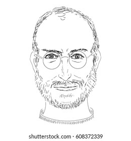 vector of portrait Steve Jobs.Sketch