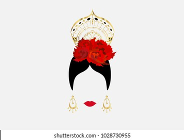 Vector Portrait of traditional Latin or Spanish woman dancer , Lady with gold accessories peineta, earrings and red flower , Flamenco Icon isolated