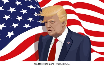 Vector portrait of USA President Donald Trump on national flag background. Donald Trump speaks during a press conference.