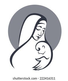 vector portrait of Virgin Mary and her baby