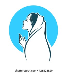vector portrait of Virgin Mary for your logo, label, emblem