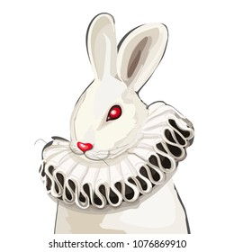 Vector portrait of the white rabbit. Red-eyed rabbit in the ruff collar.  Alice from Wonderland character illustration.