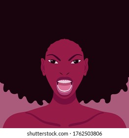 Vector portrait of young black woman with long curly hair who has an angry expression