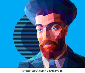 Vector portrait of a young Jew in the low polygon style. The man has a red beard and wide eyebrows. He is wearing a high hat and a suit. There is a solid abstract background.
