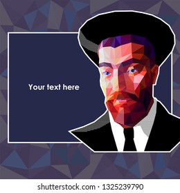Vector portrait of a young Jew in the low polygon style. The man has a red beard and wide eyebrows. He is wearing a high hat and a suit. There is an abstract background and text field.