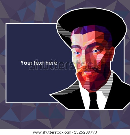 3d613dfea11 Vector portrait of a young Jew in the low polygon style. The man has a