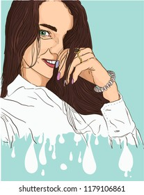 Vector portrait of young pretty woman soluble in droplets on blue background. Comix style.