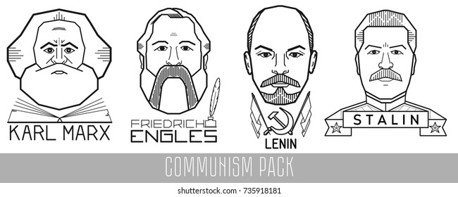 Vector portraits of historical figures Karl Marx, Friedrich Engels, Vladimir Lenin, Joseph Stalin. It is executed in a linear style.