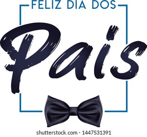 Vector Portuguese letter fathers day in blue with tie
