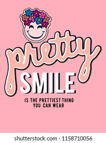 vector positive thinking slogan design. cute pink floral emoji illustration. shirt print.