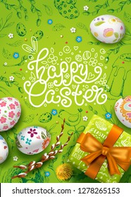 Vector posre with realistic 3D eggs, gift box and flowers. Handwriting inscription Happy Easter. Green background. Willow branch and dandelions. Lettering, calligraphy. Vintage hand drawn elements.