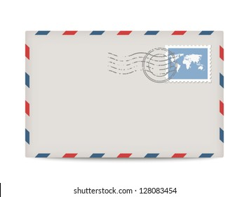 Vector postage envelope with stamp isolated on white background.