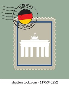 Vector postage stamp with Brandenburg Gate in Berlin. Postmark with German flag