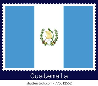 Vector postage stamp of a rectangular shape with the national flag of  Guatemala isolated on a dark blue background