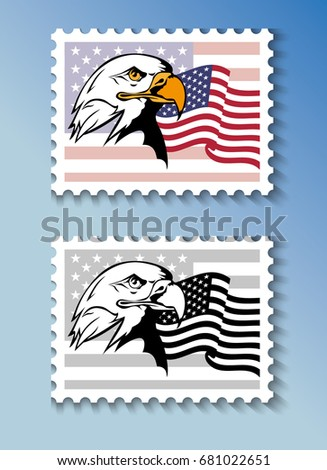 92c51c1ea9cf Vector postage stamps depicting the US national poultry - bald eagle -  against the background of the national flag of the United States of America  - Vector
