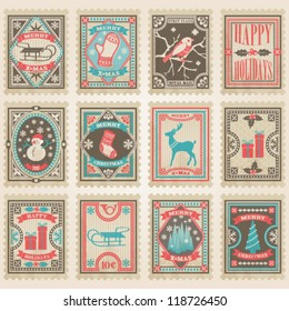 Vector postage stamps set. Christmas collection