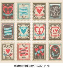Vector postage stamps set. Valentine's day collection