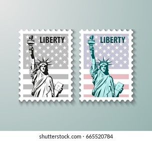 Vector postage stamps United States of America with the image of the Statue of Liberty