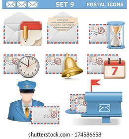 Vector Postal Icons Set 9 isolated on white background