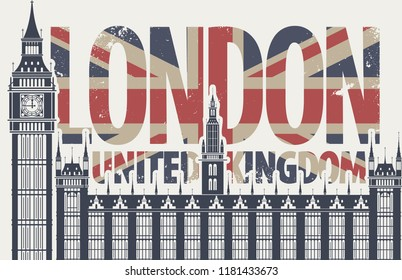 Vector postcard with Big Ben in London, Palace of Westminster, UK. Retro postcard with words London, United Kingdom in colors of british flag