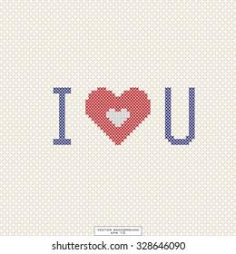 vector postcard cross-stitch i love you