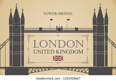 Vector postcard with famous Tower-Bridge in London, UK. Retro postcard with words London, United Kingdom and a british flag