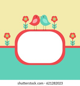 Vector postcard frame nature. Cute birds with flowers. There's space for photo or text.