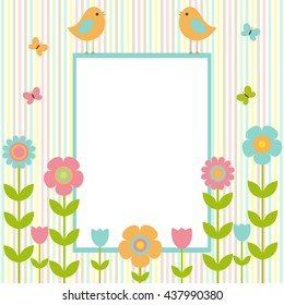 Vector postcard frame on the spring-summer theme. Birds sitting on the frame, among bright flowers and butterflies. There's space for photo or text.