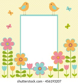 Vector postcard frame on the spring-summer theme. Birds among bright flowers and butterflies. There's space for photo or text.
