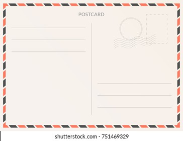 Vector postcard. Postal card illustration for design