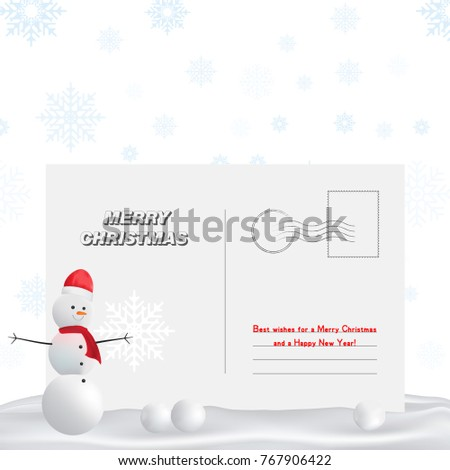 postal card for new year and a merry christmas greeting card with