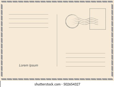 Vector Postcard. Postal card for travel. Template design for your cards.