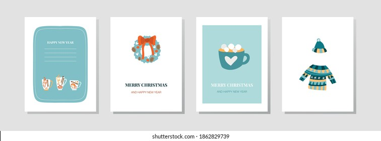 Vector postcards for the New Year. Festive drinks, a wreath on the door, a cup of cocoa with marshmallows, a cozy warm sweater and hat. Cute cards for emails, flyers and posters for christmas.