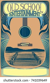 Vector poster at an 11x17 aspect ratio,  perfect for printing. Ready  made for your folk, country,  bluegrass, blues, acoustic punk, old timey shows. Plenty of space for type,  make your flier shine.