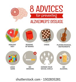 A vector poster of 8 advices for preventing Alzheimer's. Tips for a healthy brain. Prevention of memory and brain diseases.