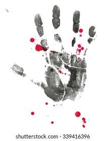 A vector poster about the dangers of terrorism.Vector hand print with drop of blood.  Peace for Paris , Pray for Paris.