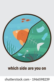 Vector poster about ocean pollution with two sides - clean and dirty. Live happy fish on one side and polluted water with fish bones, dead sea grass and face masks, plastic bottles, spoons and straws