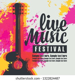 Vector poster with acoustic guitar, the inscription live music festival and place for text on the background of bright abstract spots