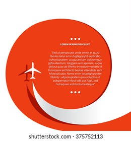 Vector poster with airplane and airplane stream jet, minimalistic style, card for travel agencies, aviation companies.