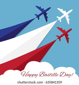 Vector poster with airplanes 14th July Bastille Day. Independence Day of France