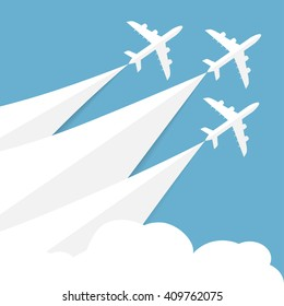 Vector poster with airplanes