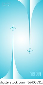 Vector poster with airplanes and airplane stream jets, minimalistic style, card for travel agencies, aviation companies. Realistic 3D airplane in the sky.